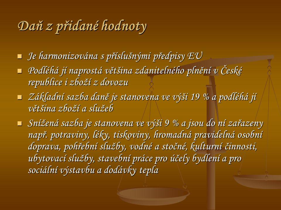 Daň z přidané hodnoty Je harmonizována s příslušnými předpisy EU Je harmonizována s příslušnými předpisy EU Podléhá jí naprostá většina zdanitelného plnění v České republice i zboží z dovozu Podléhá jí naprostá většina zdanitelného plnění v České republice i zboží z dovozu Základní sazba daně je stanovena ve výši 19 % a podléhá jí většina zboží a služeb Základní sazba daně je stanovena ve výši 19 % a podléhá jí většina zboží a služeb Snížená sazba je stanovena ve výši 9 % a jsou do ní zařazeny např.