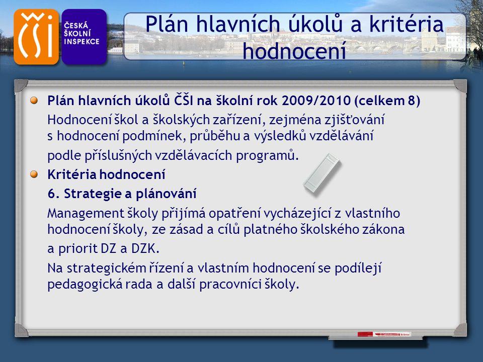 Plán hlavních úkolů a kritéria hodnocení Plán hlavních úkolů ČŠI na školní rok 2009/2010 (celkem 8) Hodnocení škol a školských zařízení, zejména zjišť