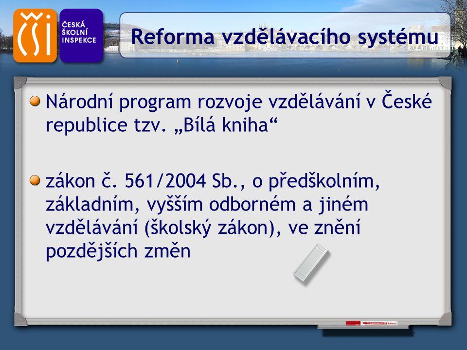 """Reforma vzdělávacího systému Národní program rozvoje vzdělávání v České republice tzv. """"Bílá kniha"""" zákon č. 561/2004 Sb., o předškolním, základním, v"""