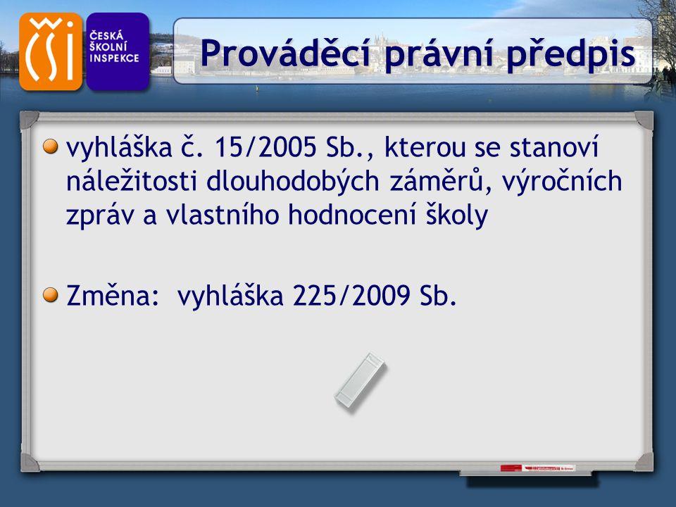 Prováděcí právní předpis Prováděcí právní předpis vyhláška č. 15/2005 Sb., kterou se stanoví náležitosti dlouhodobých záměrů, výročních zpráv a vlastn