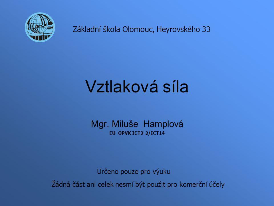 Vztlaková síla Mgr. Miluše Hamplová EU OPVK ICT2-2/ICT14 Základní škola Olomouc, Heyrovského 33 Určeno pouze pro výuku Žádná část ani celek nesmí být