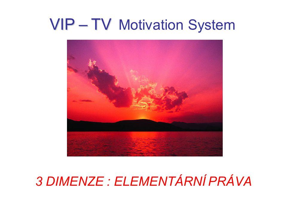 EPI - právo na INFORMACI EPO - právo na OPTIMALIZACI EPH - právo na HARMONIZACI VIP – TV VIP – TV Motivation System 3 Dimenze Elementárních Práv:
