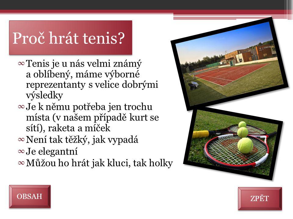 Proč hrát tenis? ∞ Tenis je u nás velmi známý a oblíbený, máme výborné reprezentanty s velice dobrými výsledky ∞ Je k němu potřeba jen trochu místa (v