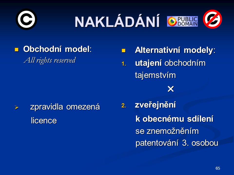 65 NAKLÁDÁNÍ Obchodní model: Obchodní model: All rights reserved All rights reserved  zpravidla omezená licence licence Alternativní modely: 1. utaje