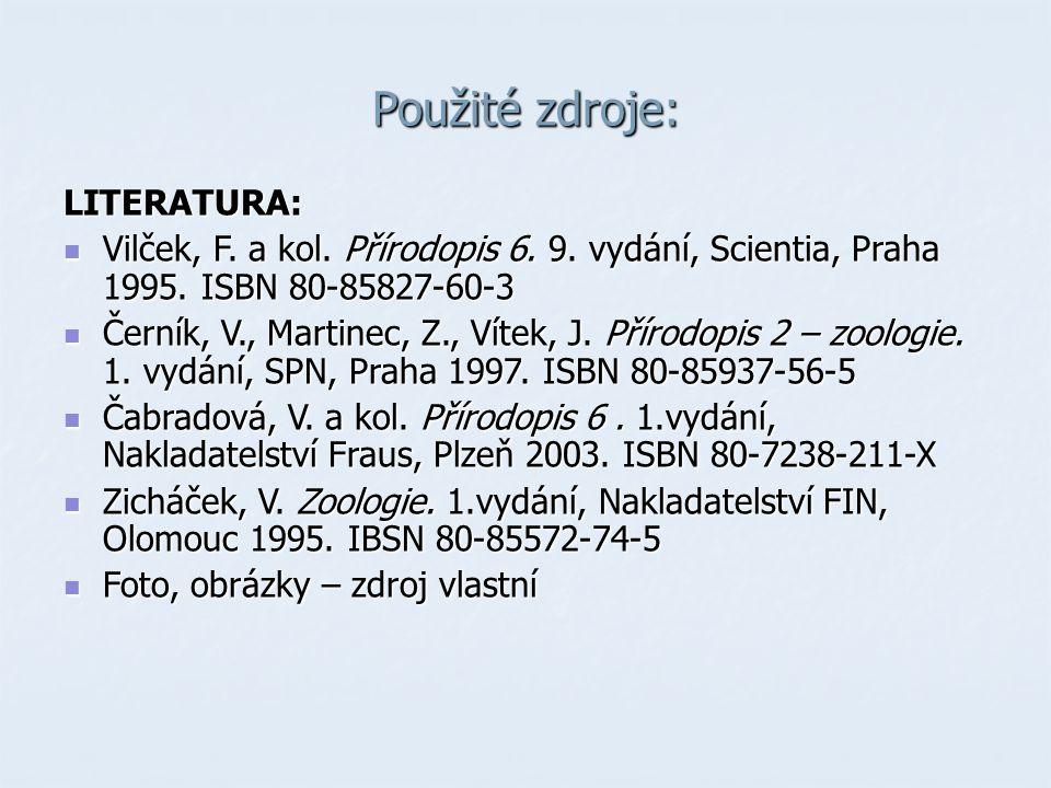 Použité zdroje: LITERATURA: Vilček, F.a kol. Přírodopis 6.