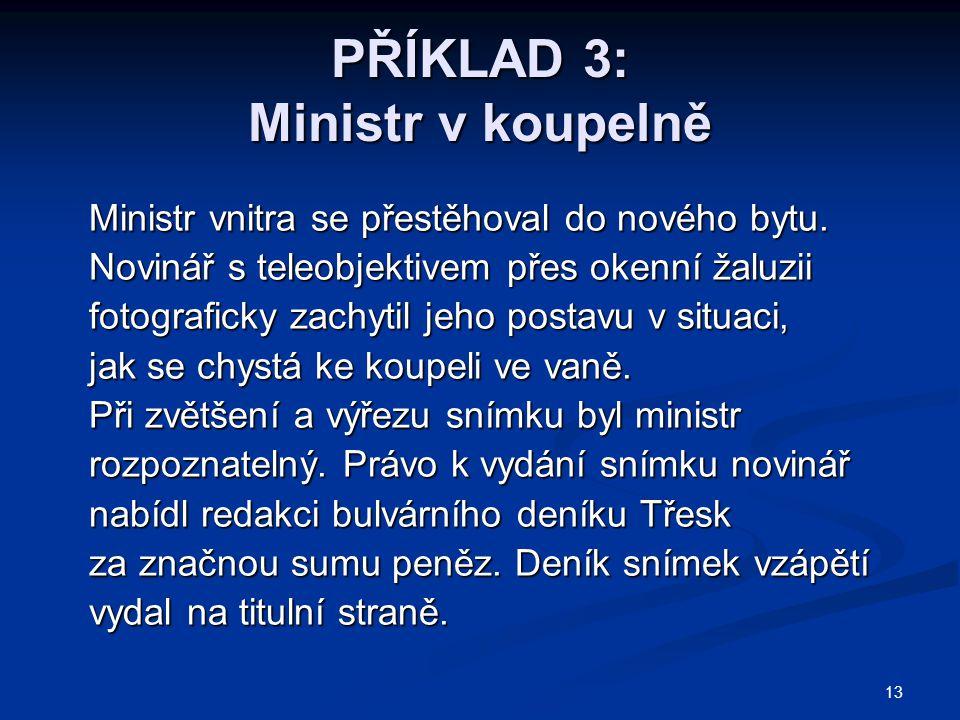 13 PŘÍKLAD 3: Ministr v koupelně Ministr vnitra se přestěhoval do nového bytu. Ministr vnitra se přestěhoval do nového bytu. Novinář s teleobjektivem