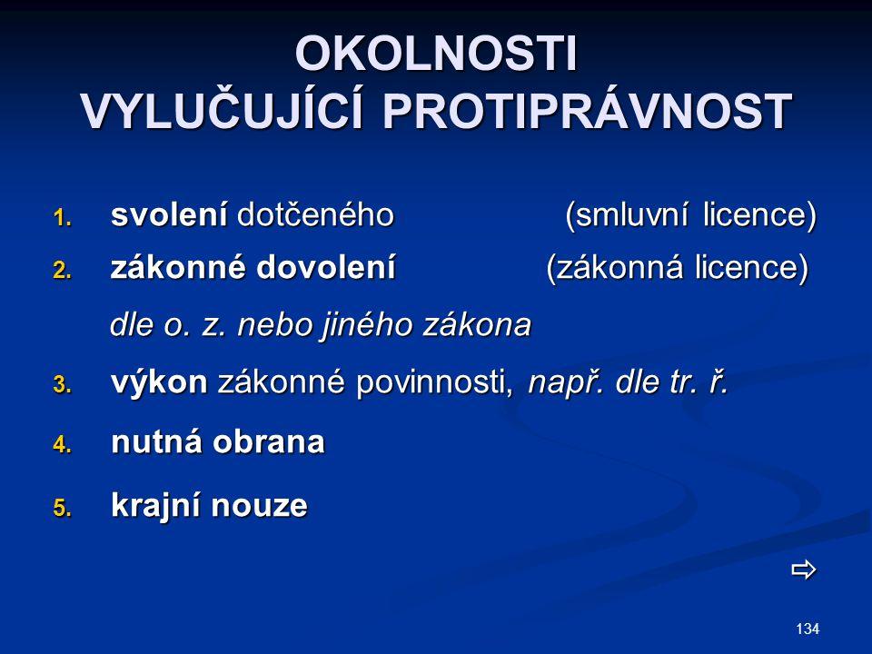 134 OKOLNOSTI VYLUČUJÍCÍ PROTIPRÁVNOST 1. svolení dotčeného (smluvní licence) 2. zákonné dovolení (zákonná licence) dle o. z. nebo jiného zákona dle o