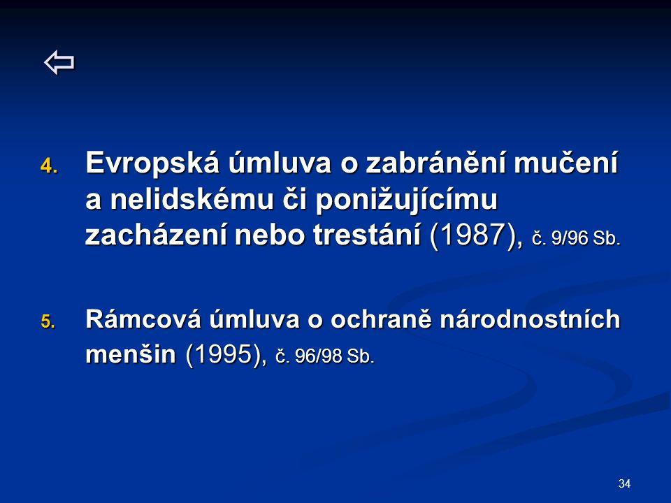 34  4. Evropská úmluva o zabránění mučení a nelidskému či ponižujícímu zacházení nebo trestání (1987), č. 9/96 Sb. 5. Rámcová úmluva o ochraně národn