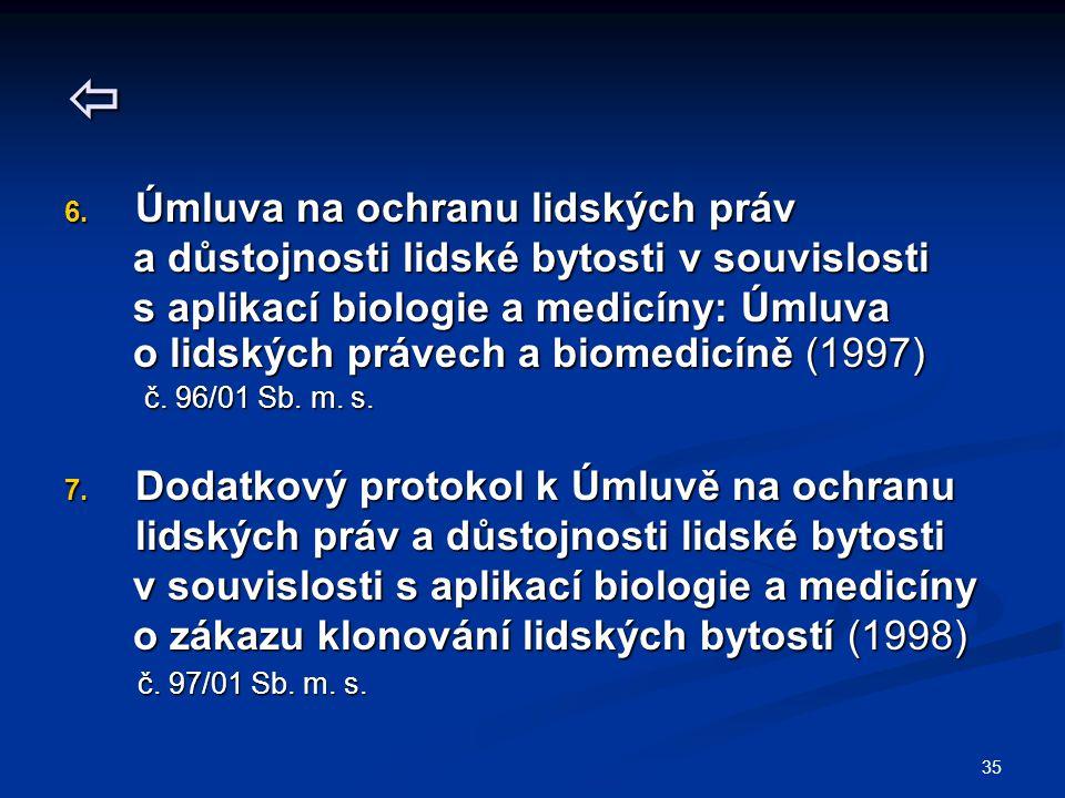 35  6. Úmluva na ochranu lidských práv a důstojnosti lidské bytosti v souvislosti a důstojnosti lidské bytosti v souvislosti s aplikací biologie a me