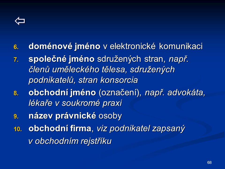 68  6. doménové jméno v elektronické komunikaci 7. společné jméno sdružených stran, např. členů uměleckého tělesa, sdružených podnikatelů, stran kons