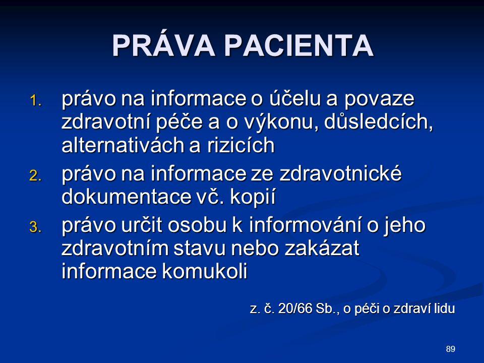 89 PRÁVA PACIENTA 1. právo na informace o účelu a povaze zdravotní péče a o výkonu, důsledcích, alternativách a rizicích 2. právo na informace ze zdra