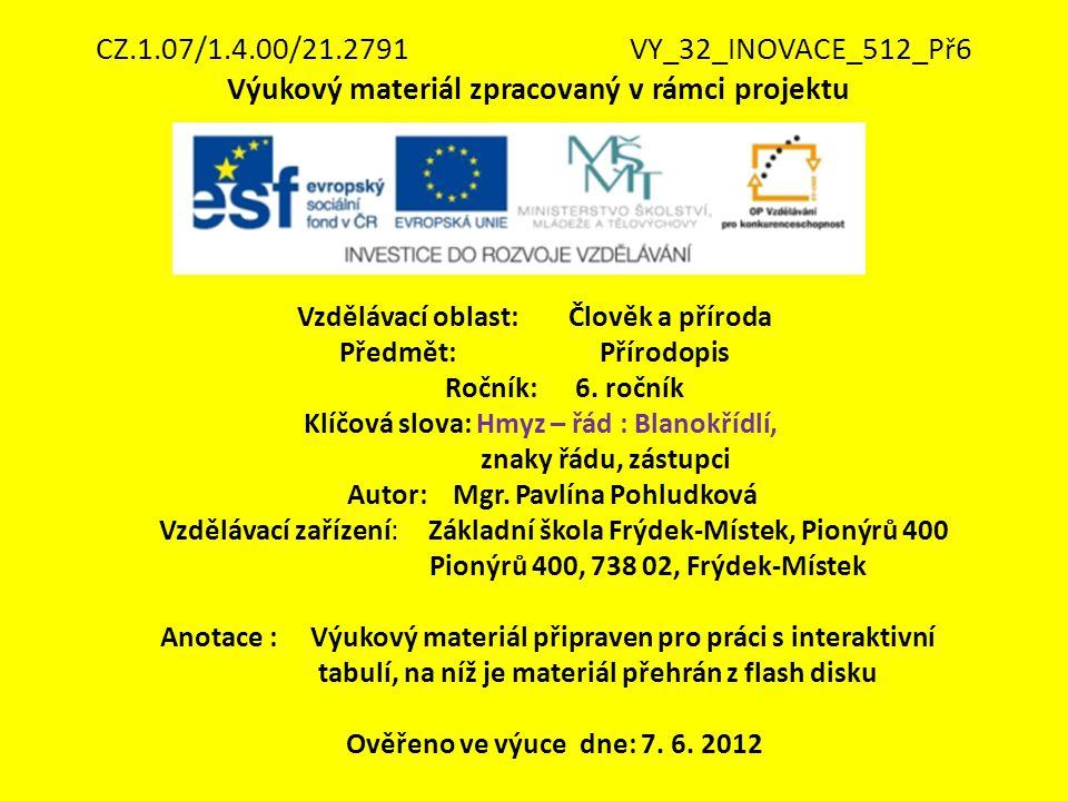 CZ.1.07/1.4.00/21.2791VY_32_INOVACE_512_Př6 Výukový materiál zpracovaný v rámci projektu Vzdělávací oblast: Člověk a příroda Předmět: Přírodopis Roční