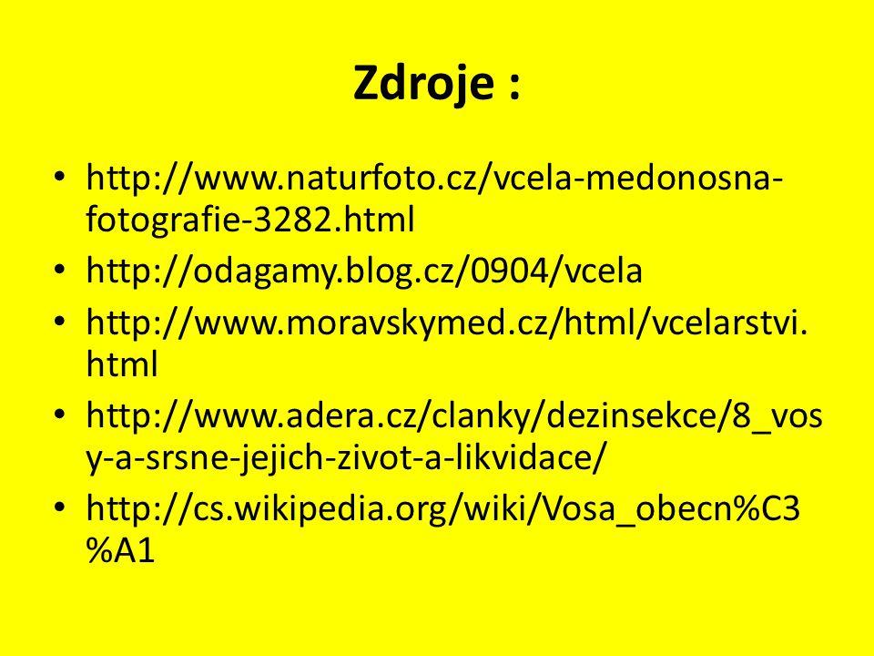 Zdroje : http://www.naturfoto.cz/vcela-medonosna- fotografie-3282.html http://odagamy.blog.cz/0904/vcela http://www.moravskymed.cz/html/vcelarstvi. ht
