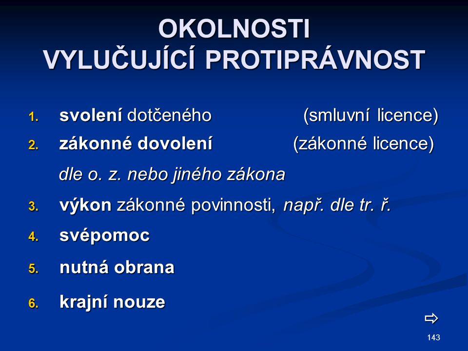 143 OKOLNOSTI VYLUČUJÍCÍ PROTIPRÁVNOST 1. svolení dotčeného (smluvní licence) 2. zákonné dovolení (zákonné licence) dle o. z. nebo jiného zákona dle o