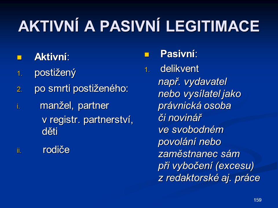 159 AKTIVNÍ A PASIVNÍ LEGITIMACE Aktivní: Aktivní: 1. postižený 2. po smrti postiženého: i. manžel, partner v registr. partnerství, v registr. partner