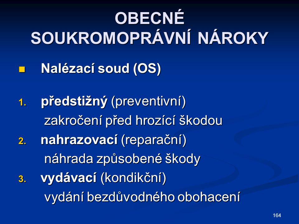 164 OBECNÉ SOUKROMOPRÁVNÍ NÁROKY Nalézací soud (OS) Nalézací soud (OS) 1. předstižný (preventivní) zakročení před hrozící škodou zakročení před hrozíc