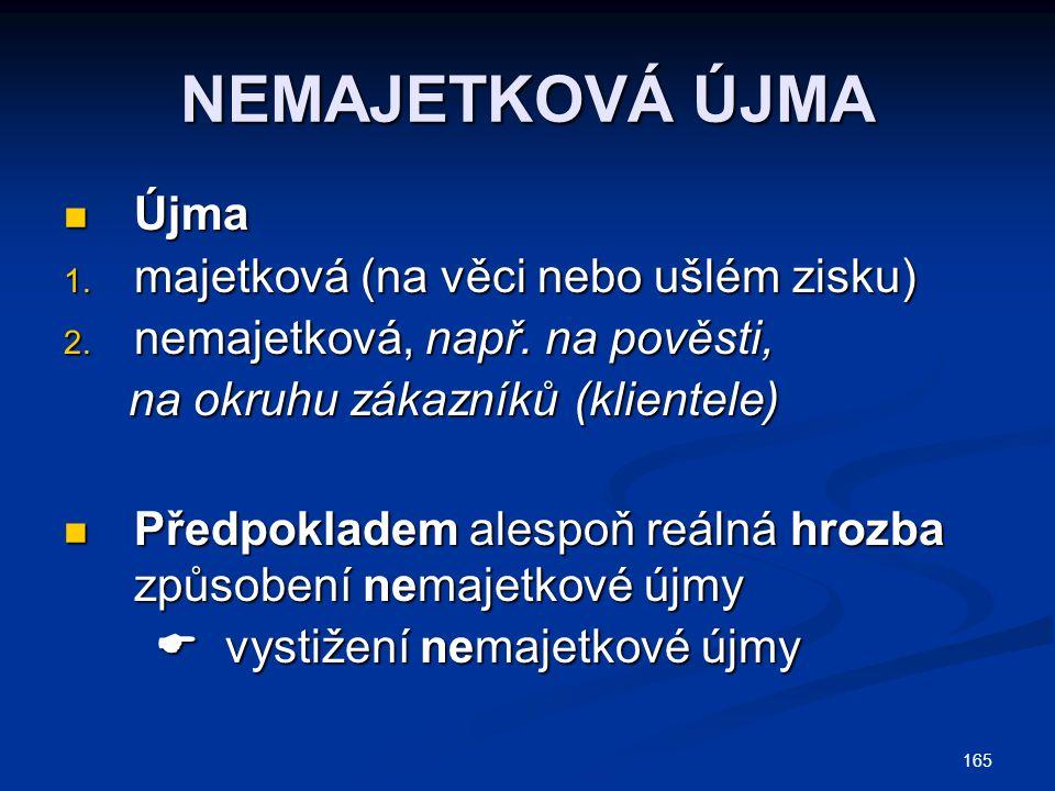 165 NEMAJETKOVÁ ÚJMA Újma Újma 1. majetková (na věci nebo ušlém zisku) 2. nemajetková, např. na pověsti, na okruhu zákazníků (klientele) na okruhu zák