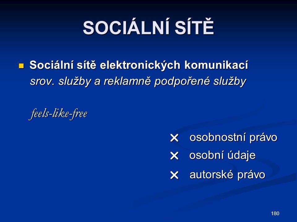 180 SOCIÁLNÍ SÍTĚ Sociální sítě elektronických komunikací Sociální sítě elektronických komunikací srov. služby a reklamně podpořené služby srov. služb
