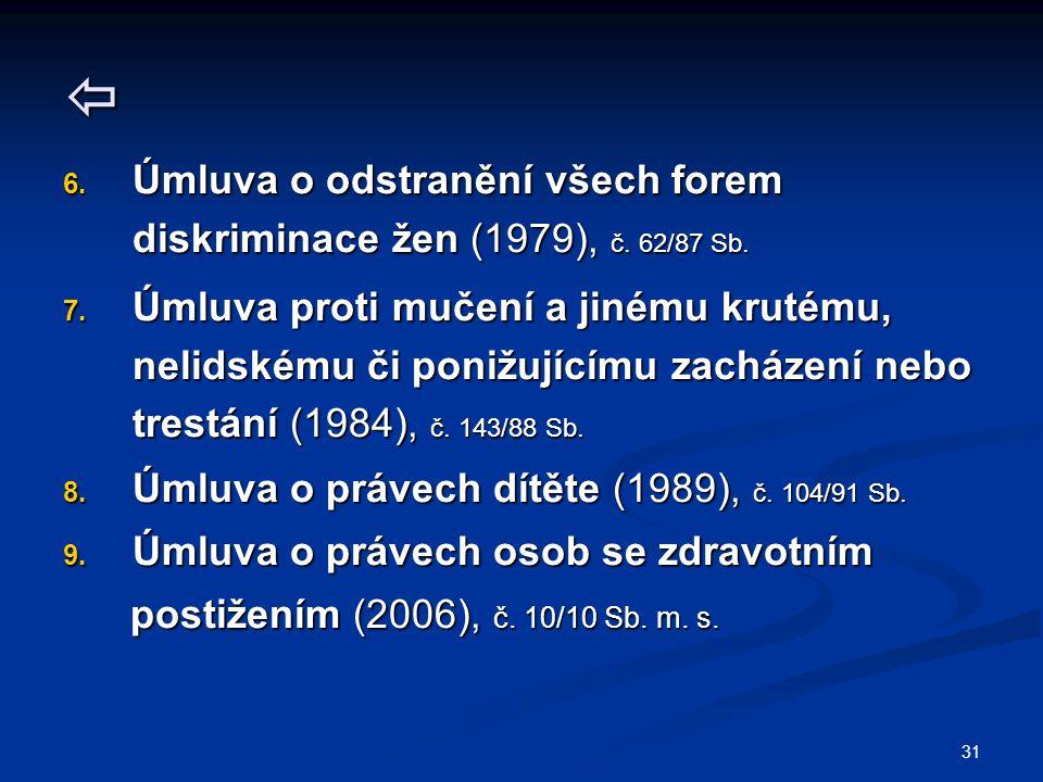 31  6. Úmluva o odstranění všech forem diskriminace žen (1979), č. 62/87 Sb. 7. Úmluva proti mučení a jinému krutému, nelidskému či ponižujícímu zach