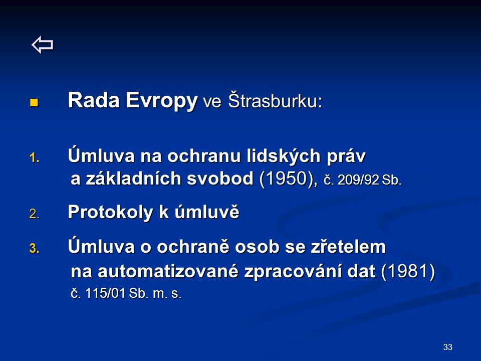 33  Rada Evropy ve Štrasburku: Rada Evropy ve Štrasburku: 1. Úmluva na ochranu lidských práv a základních svobod (1950), č. 209/92 Sb. a základních s