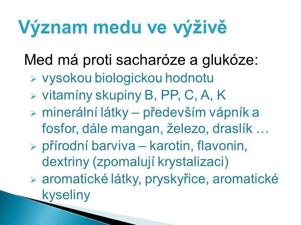 Med má proti sacharóze a glukóze:  vysokou biologickou hodnotu  vitamíny skupiny B, PP, C, A, K  minerální látky – především vápník a fosfor, dále mangan, železo, draslík …  přírodní barviva – karotin, flavonin, dextriny (zpomalují krystalizaci)  aromatické látky, pryskyřice, aromatické kyseliny