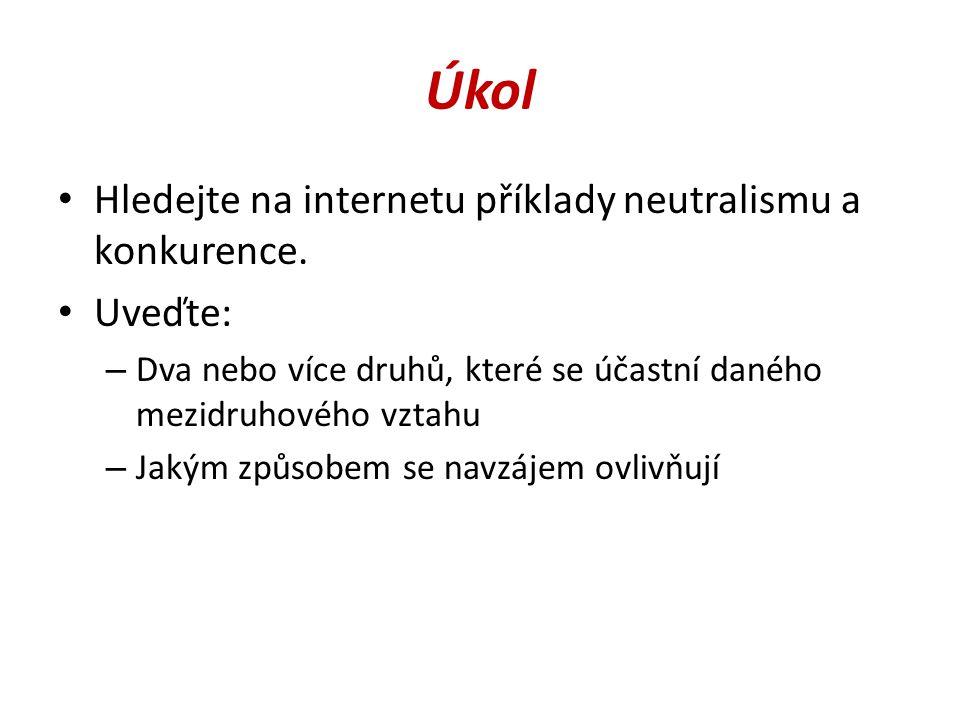 Úkol Hledejte na internetu příklady neutralismu a konkurence.