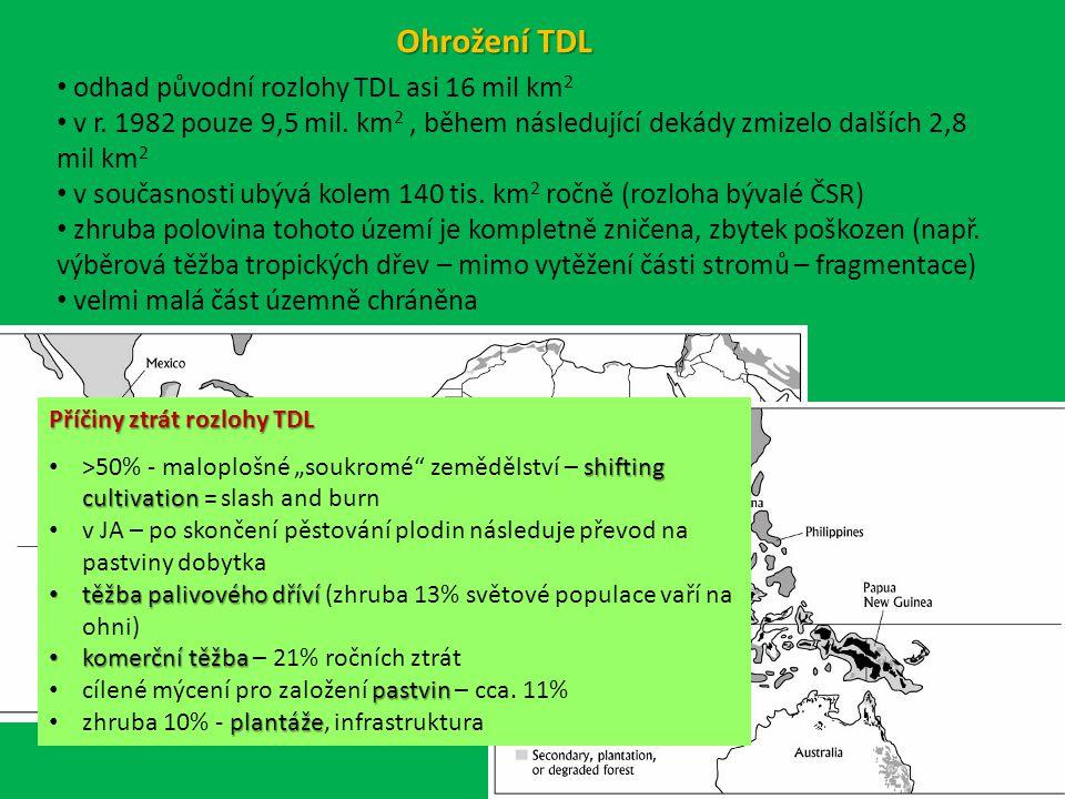 odhad původní rozlohy TDL asi 16 mil km 2 v r.1982 pouze 9,5 mil.