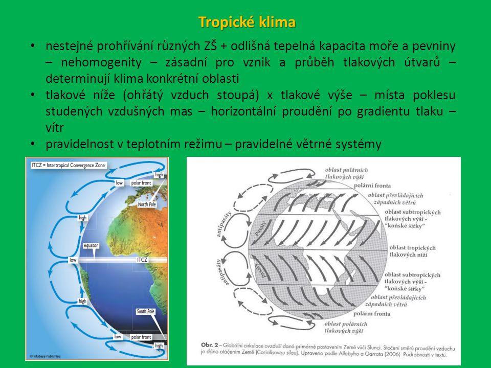 nestejné prohřívání různých ZŠ + odlišná tepelná kapacita moře a pevniny – nehomogenity – zásadní pro vznik a průběh tlakových útvarů – determinují klima konkrétní oblasti tlakové níže (ohřátý vzduch stoupá) x tlakové výše – místa poklesu studených vzdušných mas – horizontální proudění po gradientu tlaku – vítr pravidelnost v teplotním režimu – pravidelné větrné systémy Tropické klima
