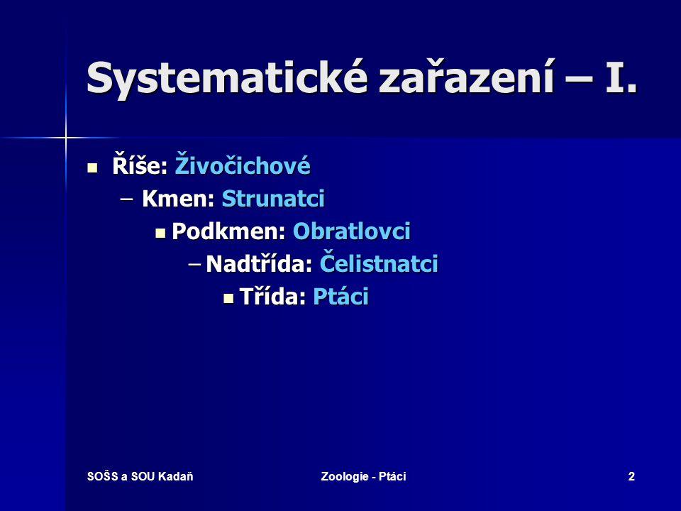 SOŠS a SOU KadaňZoologie - Ptáci3 Systematické zařazení – II.
