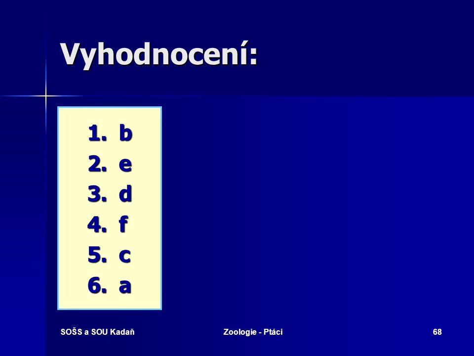 SOŠS a SOU KadaňZoologie - Ptáci68 Vyhodnocení: 1.b 2.e 3.d 4.f 5.c 6.a