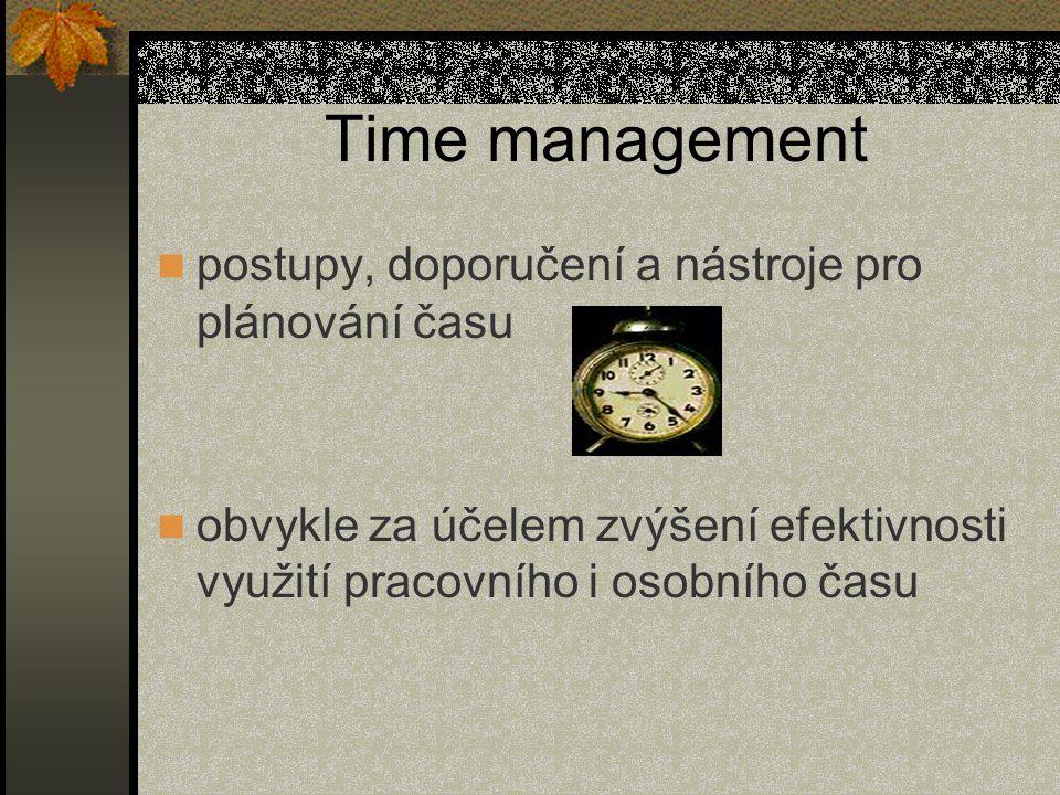 Time management postupy, doporučení a nástroje pro plánování času obvykle za účelem zvýšení efektivnosti využití pracovního i osobního času