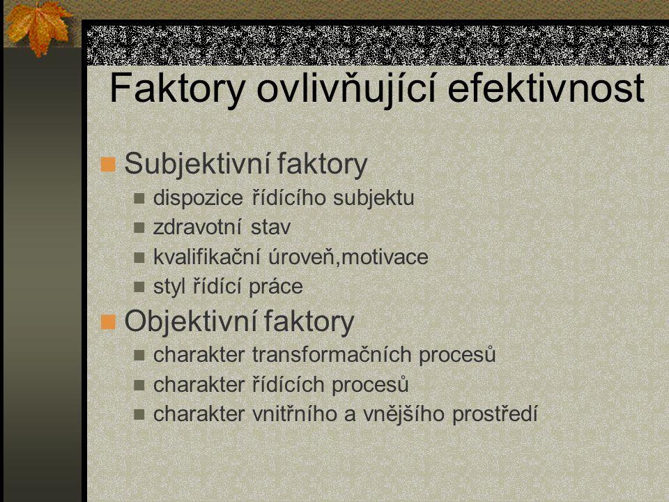 Faktory ovlivňující efektivnost Subjektivní faktory dispozice řídícího subjektu zdravotní stav kvalifikační úroveň,motivace styl řídící práce Objektiv