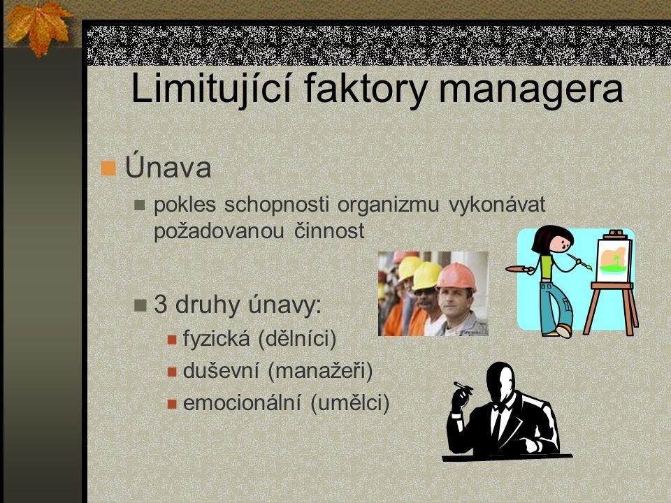 Limitující faktory managera Únava pokles schopnosti organizmu vykonávat požadovanou činnost 3 druhy únavy: fyzická (dělníci) duševní (manažeři) emocio