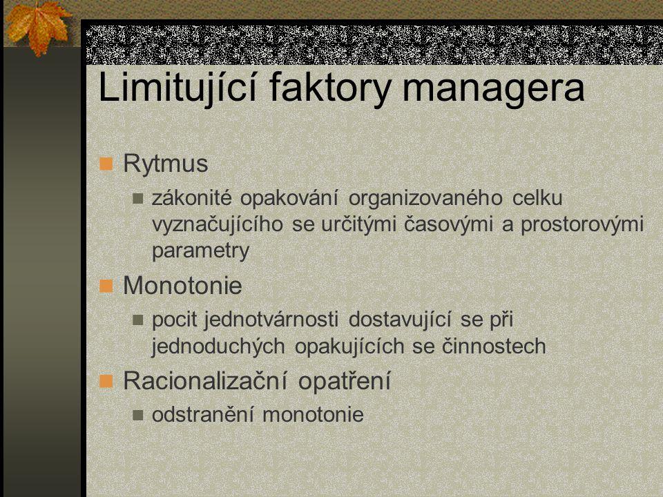 Limitující faktory managera Rytmus zákonité opakování organizovaného celku vyznačujícího se určitými časovými a prostorovými parametry Monotonie pocit