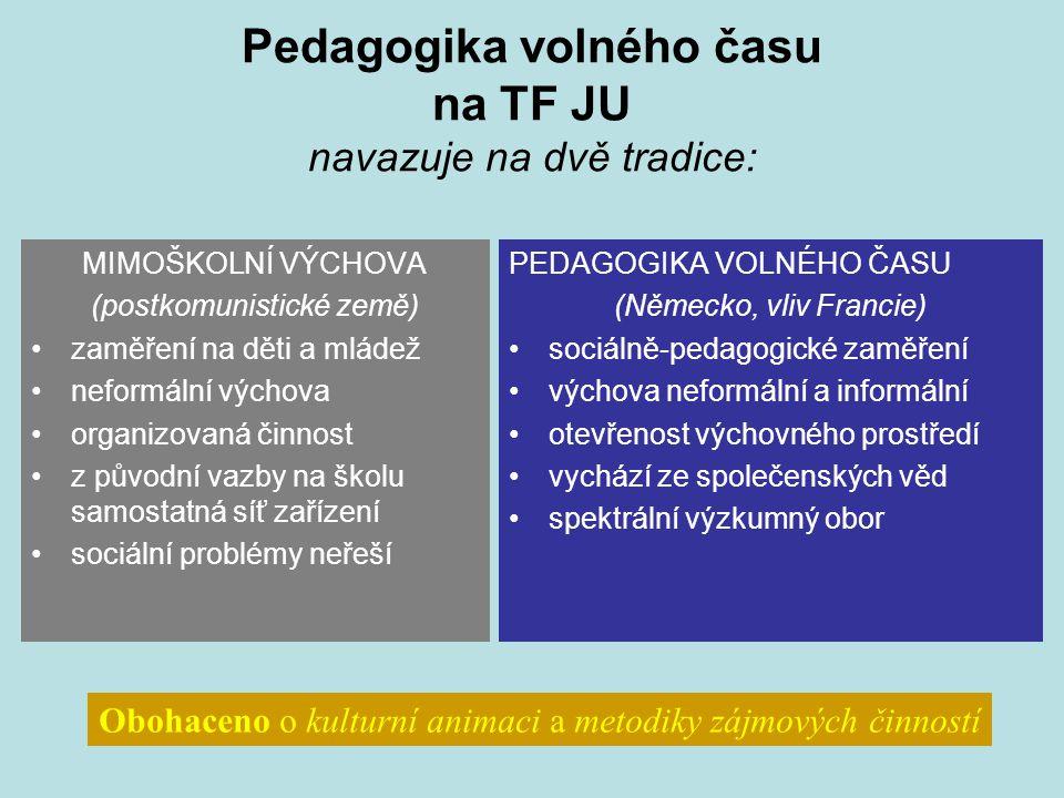 Pedagogika volného času na TF JU navazuje na dvě tradice: MIMOŠKOLNÍ VÝCHOVA (postkomunistické země) zaměření na děti a mládež neformální výchova orga