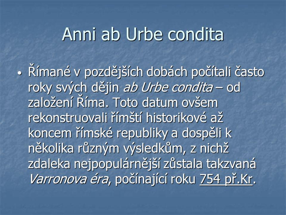 Anni ab Urbe condita Římané v pozdějších dobách počítali často roky svých dějin ab Urbe condita – od založení Říma. Toto datum ovšem rekonstruovali ří