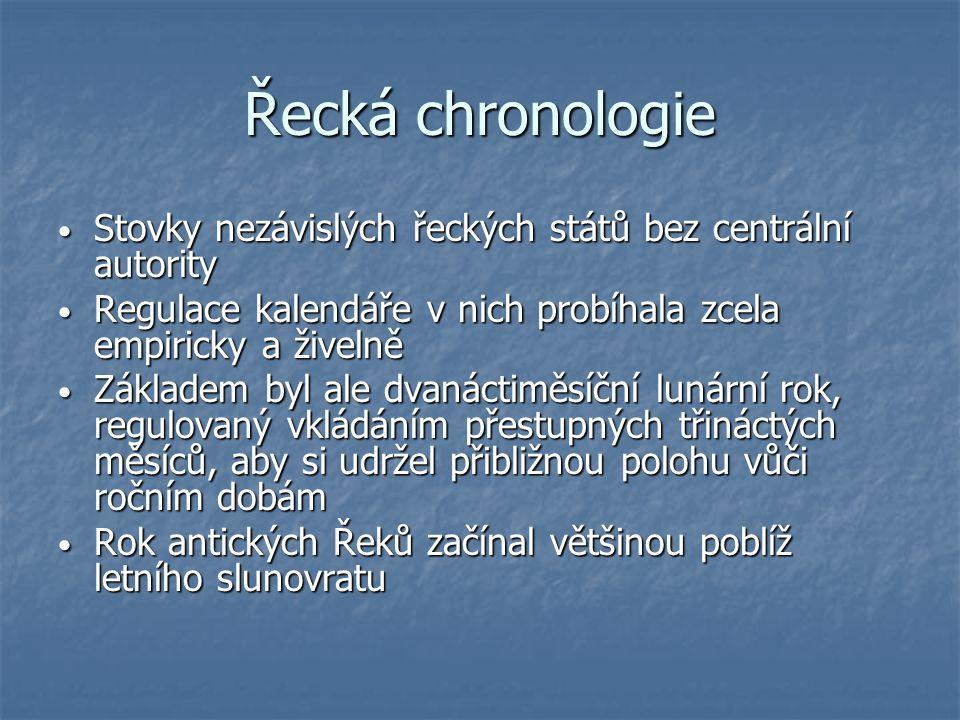 Řecká chronologie Stovky nezávislých řeckých států bez centrální autority Stovky nezávislých řeckých států bez centrální autority Regulace kalendáře v