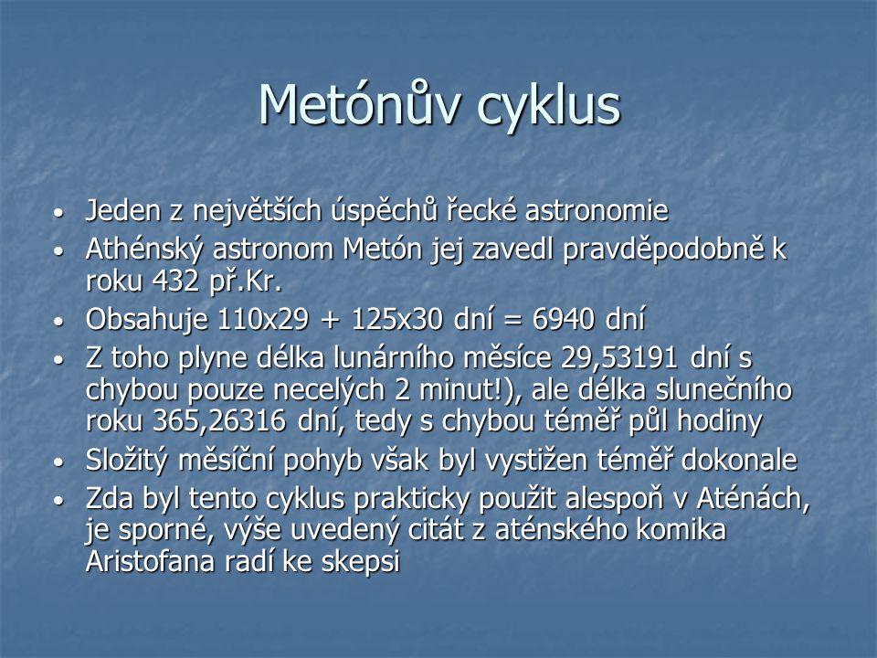 Metónův cyklus Jeden z největších úspěchů řecké astronomie Jeden z největších úspěchů řecké astronomie Athénský astronom Metón jej zavedl pravděpodobn