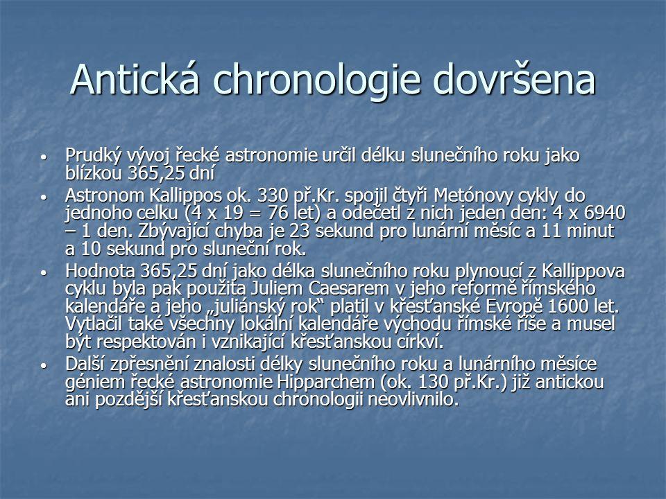 Antická chronologie dovršena Prudký vývoj řecké astronomie určil délku slunečního roku jako blízkou 365,25 dní Prudký vývoj řecké astronomie určil dél