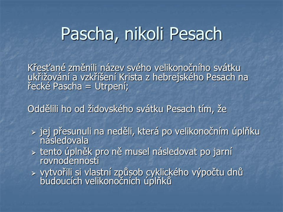 Pascha, nikoli Pesach Křesťané změnili název svého velikonočního svátku ukřižování a vzkříšení Krista z hebrejského Pesach na řecké Pascha = Utrpení;