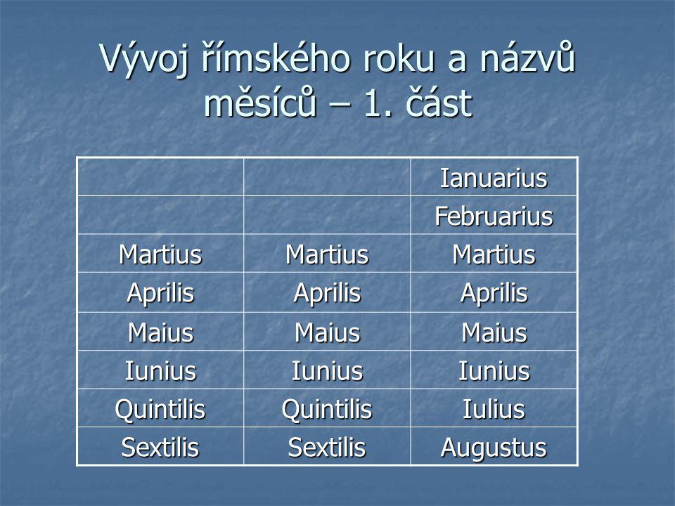 Vývoj římského roku a názvů měsíců – 1. část Ianuarius Februarius MartiusMartiusMartius AprilisAprilisAprilis MaiusMaiusMaius IuniusIuniusIunius Quint