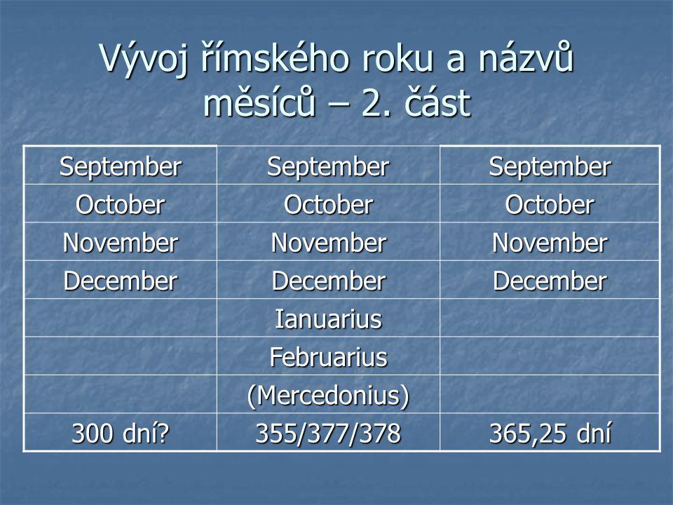 Vývoj římského roku a názvů měsíců – 2. část SeptemberSeptemberSeptember OctoberOctoberOctober NovemberNovemberNovember DecemberDecemberDecember Ianua