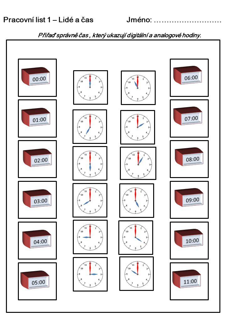 Pracovní list 1 – Lidé a čas Jméno: ……………………… Přiřaď správně čas, který ukazují digitální a analogové hodiny.