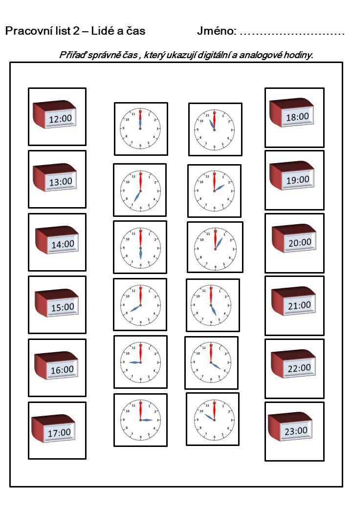 Pracovní list 3 – Lidé a čas Jméno: …………………… Do šedých rámečků doplň obě varianty času v digitální podobě, který ukazují analogové hodiny.