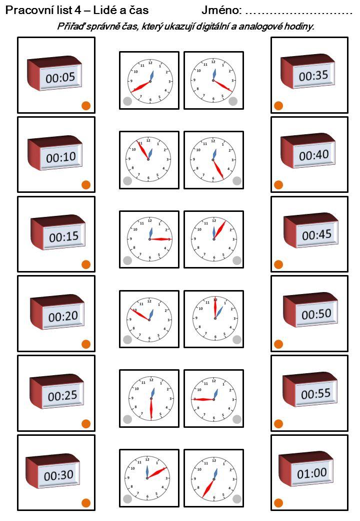 Pracovní list 4 – Lidé a čas Jméno: ……………………… Přiřaď správně čas, který ukazují digitální a analogové hodiny.