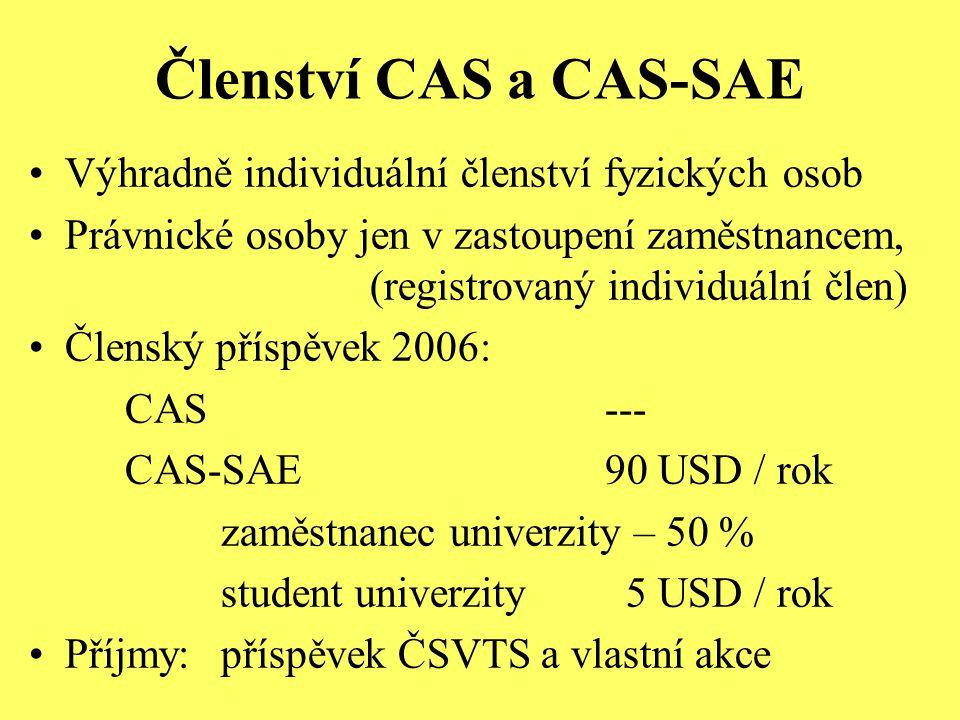 Členství CAS a CAS-SAE Výhradně individuální členství fyzických osob Právnické osoby jen v zastoupení zaměstnancem, (registrovaný individuální člen) Členský příspěvek 2006: CAS--- CAS-SAE90 USD / rok zaměstnanec univerzity – 50 % student univerzity 5 USD / rok Příjmy: příspěvek ČSVTS a vlastní akce