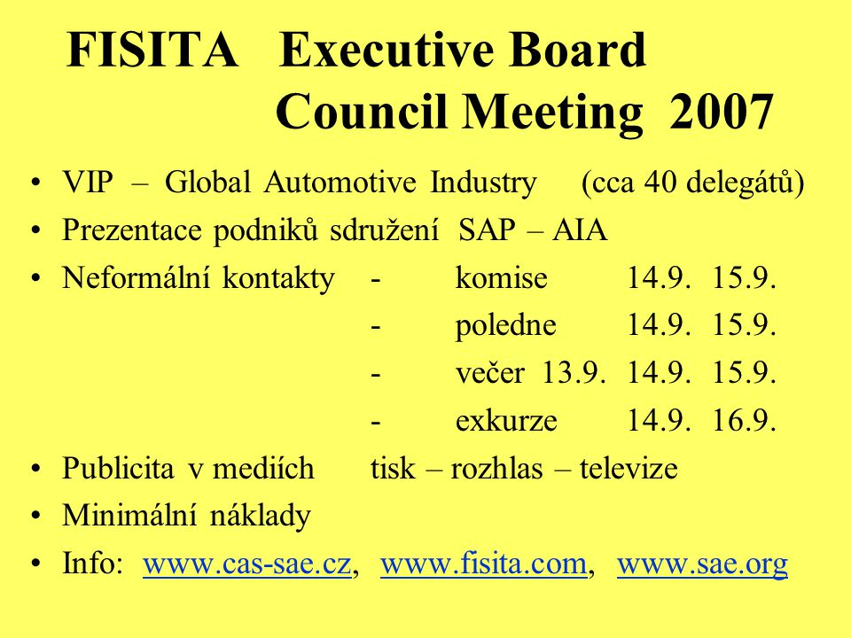 FISITA Executive Board Council Meeting 2007 VIP – Global Automotive Industry (cca 40 delegátů) Prezentace podniků sdružení SAP – AIA Neformální kontak