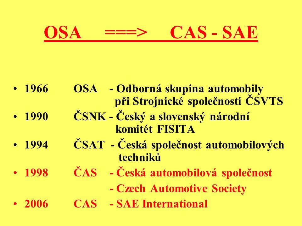 OSA ===> CAS - SAE 1966 OSA - Odborná skupina automobily při Strojnické společnosti ČSVTS 1990 ČSNK - Český a slovenský národní komitét FISITA 1994 ČSAT - Česká společnost automobilových techniků 1998 ČAS - Česká automobilová společnost - Czech Automotive Society 2006CAS - SAE International