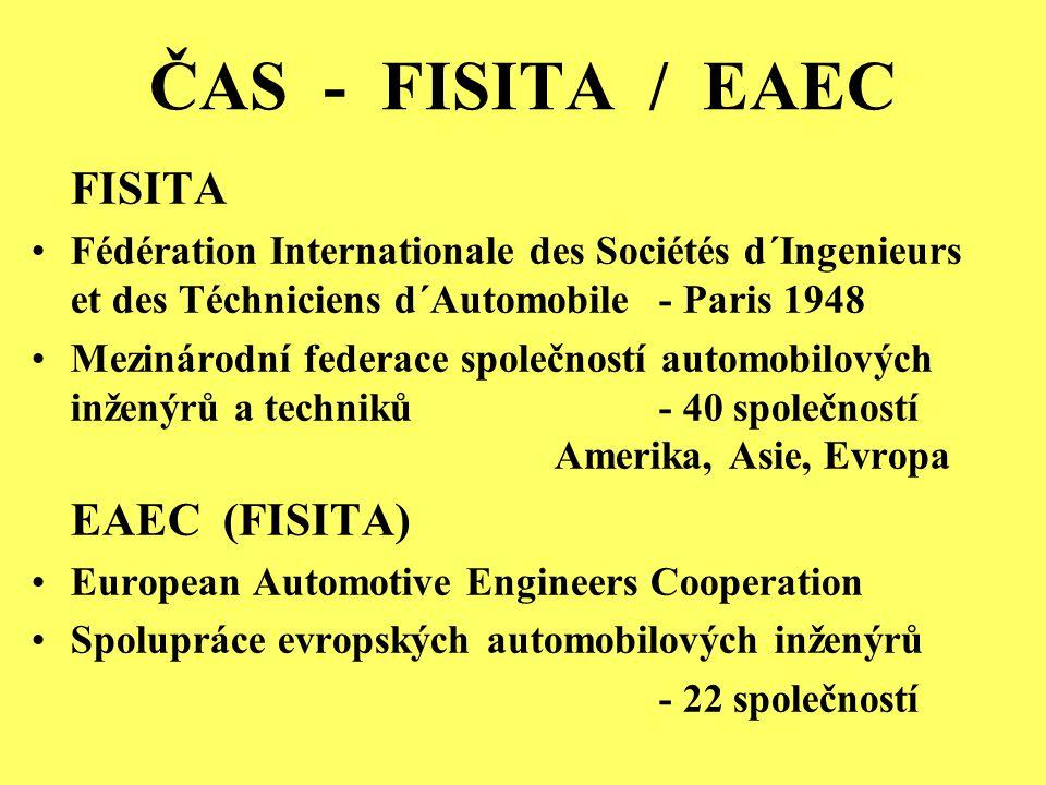 ČAS - FISITA / EAEC FISITA Fédération Internationale des Sociétés d´Ingenieurs et des Téchniciens d´Automobile - Paris 1948 Mezinárodní federace společností automobilových inženýrů a techniků - 40 společností Amerika, Asie, Evropa EAEC (FISITA) European Automotive Engineers Cooperation Spolupráce evropských automobilových inženýrů - 22 společností