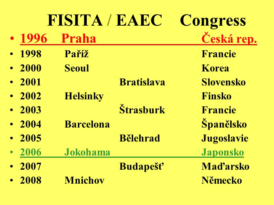 FISITA Praha 1996 200 referátů – 5 sekcí 600 delegátů 100 studentů Youth Congress Asie, Amerika, Evropa Partner: BVV, Guarant, Karosa, Praga, Škoda Auto